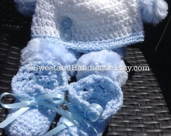 Beautiful baby boy hat and booties set crochet beanie and booties MADE TO ORDER