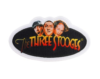 The Three Stooges Film Logo Patch Moe, Curly, Larry Comedy Trio Iron-On Applique