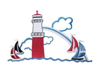 ID 1836 Sailing Scene Lighthouse Patch Ocean Sea Boat Decor Iron-On Applique