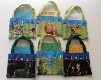 Eleven Toy Story Children's Crayon Bags and Customized Paper, Birthday Party Favor