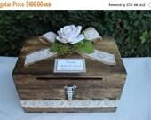 ON SALE Wedding Card box Cardholder / Wooden Lockable Cardholder Box / Box with Slot / Rustic Wedding Decor
