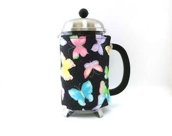 French Press Coffee Cozy /Butterflies / Bodum Press CHAMBORD Cozy / RedLeafStitchCraft