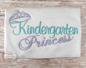 Kindergarten Princess Embroidered Shirt in Teal & Purple