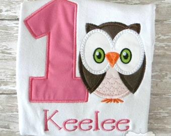 Owl Birthday Themed Emboidered Shirt or Bodysuit