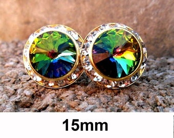 Vitrail Medium Studs, VM and Gold Earrings, Rhinestone Earrings, Stud Earrings, Rainbow Earrings, Crystal Stud, Large Studs, Surrounds, 15mm