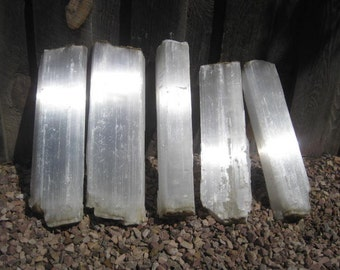 """17"""" Selenite - 5 crystal Logs - ALL INCLUDED - free shipping usa"""
