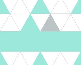 Triangles - Digital Art, Photoshop, Geometric Art, Seafoam, Grey