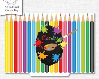 Art Goodie Bag, Art Bag Printable, Loot Bag printable, Art Birthday Printable, Art Party Decorations