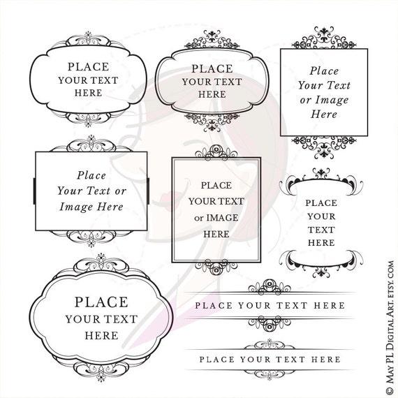 Digital Flourish Frame Clipart Vintage Clip Art Calligraphy Design Elements DIY Wedding Invitation Label Tag Scrapbooking Vector 10267