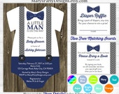 Little Man Baby Shower Onesie Invitation - Boy Baby Navy Blue Bow Tie Rustic Diaper Raffle Ticket Book Request Card Personalized Printable