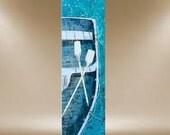 original painting boat nautical textured art sailing row ship oars 40x16 FREE SHIP