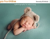 SALE -20%OFF Newborn knitted ear bear bonnet-puppy bonnet in alpaca boucle wool-newborn props-photo prop bonnet