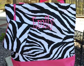 6 Colors! Monogram Zebra Tote Bag, Personalized Tote Bag, Monogrammed Tote Bag, Personalized Zebra Tote Bag, Zebra Tote Bag