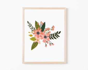 Coral Sprigs Single I Nursery Art. Nursery Wall Art. Nursery Prints. Nursery Decor. Girl Wall Art. Floral Wall Art. Instant Download.