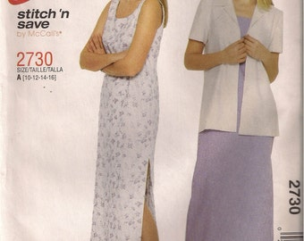 McCall's Sewing Pattern 2730 - Misses' Dress and Unlined Jacket (10-16, 18-24)