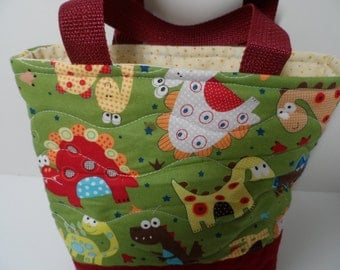 Dinosaur quilted tote bag, kidstote for tablet bag or books, car trips
