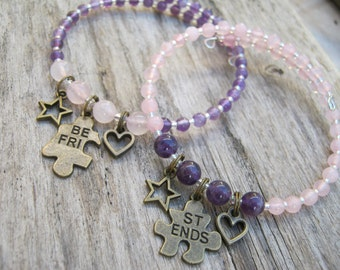 Best Friends Charm Bracelets,  Matching Puzzle Bracelets, Rose Quartz Stacking Bracelet, Amethyst,  Memory Wire,  Pink Purple, READY To SHIP