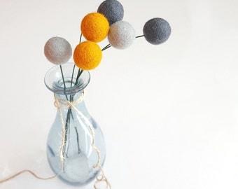 Yellow grey billy balls, craspedia, pompom bouquet, billy ball flowers, felt ball flowers, felt flower bouquet, modern arrangement