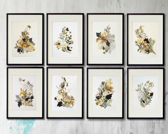 Set of 8 prints flower print wall art set of 8 herbarium - Model herbarium ...