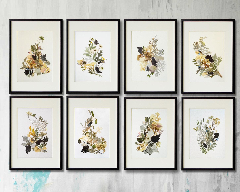 Set Of 8 Prints Flower Print Wall Art Set Of 8 Herbarium
