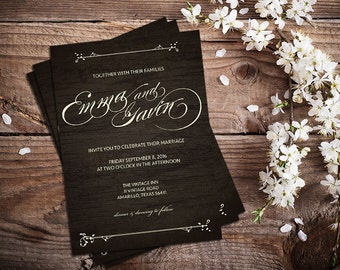 Rustic Woodgrain Wedding Invitation
