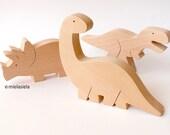 Handmade wooden toy Dinosaurs - Set of 3