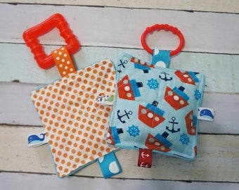 Baby Boy Toys, SET of  2, nautical theme, Crinkle toys, 1 freezer teething link and 1 hook teething link included, 5 inch.