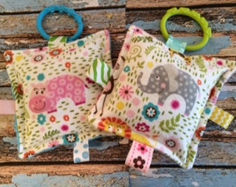 Baby girl toys, crinkle sound toys, set of two,  with teething links,  flannel fronts, minkey backs,  Elephant and Hippo, for Busy Babies.