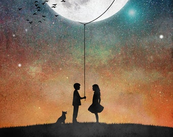 I will give you the moon,poster,print,art,artwork,space,love,romantic,moon,gift,night,home decor