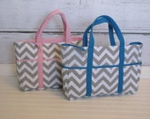 Sale--Gray Chevron Diapers Bags in Blue, Yellow, and Pink, Great Baby Gift