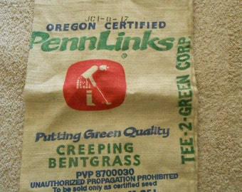 Burlap seed bag Oregon golf course