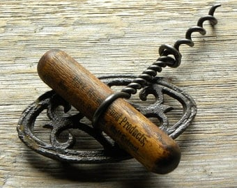 Antique Rare ADVERTISING Handle BEER BREW Products Ales, Lager, Malt Extract, Twisted Steel Wire Worm Cork Screw Bottle Opener