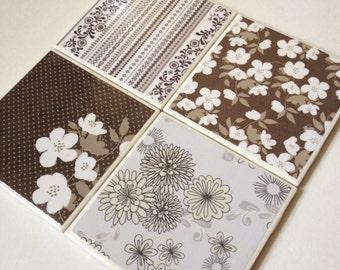 Set of 4 // Floral Coasters // Tile Coasters // Ceramic Coasters // Ceramic Tile Coasters // Drink Coasters // Brown Coasters // Coaster Set