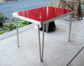 Vintage 1950s Farmhouse Hairpin Chrome Leg Cherry Red Marble Formica Kitchen Breakfast Table French Country Collapsible Cottage Bistro Table