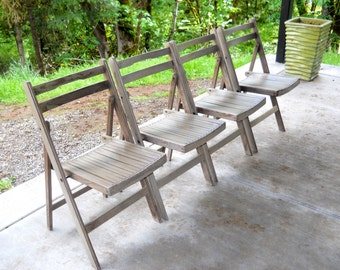 Vintage Teak Folding Wood Slatted Chairs 1940s Mid Century Danish Modern Farmhouse Antique Porch Weathered Gray Collapsible Chair Set