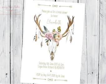 The Tribal Celebration Deer skull with Florals on White background, Bridal baby shower boho gypsy tribal