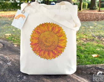 Sunflower Tote Bag, Ethically Produced Reusable Shopper Bag, Cotton Tote, Shopping Bag, Eco Tote Bag