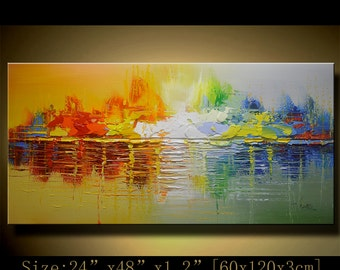 contemporary wall art,Palette Knife Painting,colorful Landscape painting,wall decor,Home Decor,Acrylic Textured Painting ON Canvas Chen Q31
