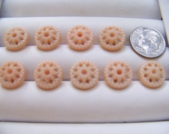 Set of 9 Vintage Small Lacy Shank Buttons 1/2""