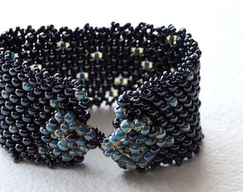 Beaded Cuff Bracelet - Peyote Stitch - Native Made
