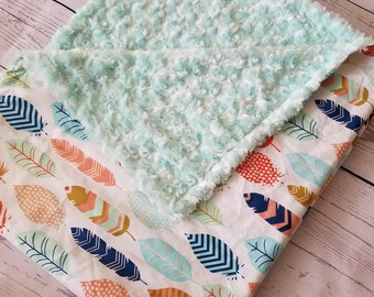 Baby Blanket Feather Carseat Blanket Crib Blanket Girl Minky Blanket