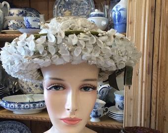 Vintage antique designer floral flowers white hat teaparty wedding free shipping sale
