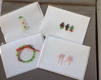 Greeting Cards Holiday Assortment Sea Beach Glass Handmade Originals Set of 4