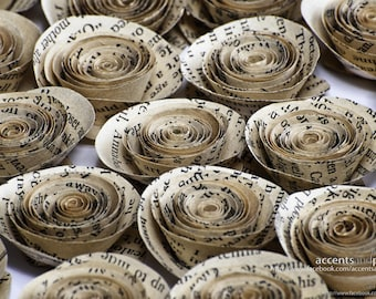 150 Pcs Book Page Paper Rosettes for Weddings and Craft Projects