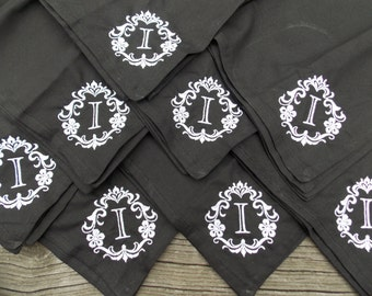 Damask Monogrammed Cloth Napkins Personalized Cloth Napkins Dinner Napkins Personalized Wedding 2nd Anniversary Gift Cotton Anniversary