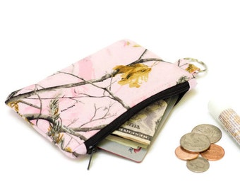 Pink Camo Coin Purse - Keychain Wallet  - Keychain Pouch -  Pink Camo Coin Pouch - Small  pouch