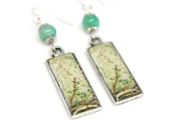 Art resin earrings with oriental art prints