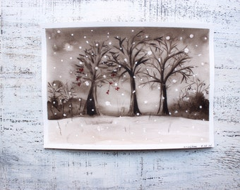 Winter snowy night original watercolor painting 7x10 sepia