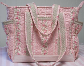Handmade Large Shabby Chic Quilted Diaper Bag, Tote Bag, Toddler Tote Bag, Overnight Bag in soft pink, roses, sage green, ivory, polka dots