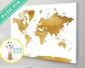 Push Pins World Map CANVAS Watercolor Gold - Countries, Capitals, USA STATES  - Push Pin Travel Map, Pin It Map, Gift Idea, 240 Pins